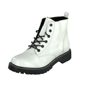 Jane Klain Woman Damen Schuhe Lack Boots Stiefel Schnürer 252-366 Weiß Lack