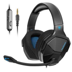 NUBWO PS4 Headset, Gaming Headset für PC Xbox One PS5 Switch, Bass-Surround Stereo Over-Ear Gaming Kopfhörer mit Rauschunterdrückung und Inline-Steuerung Mikrofon für Laptop, Mac, Handy, Tablet - blau