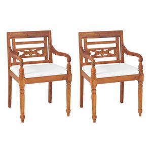 Batavia-Stühle 2 Stk. mit Polstern Massivholz Teak