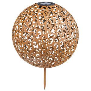 HI LED-Solar-Garten-Kugelleuchte 28,5 cm Metall Braun
