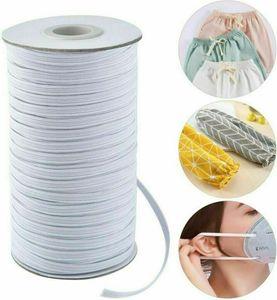 180M/195Yards Gummibänder Gummilitze Elastische Stretch-Kordel für Kleidungsstücke Sport Pant Sewing Trim Raw Weiß 6mm Gummiband nähenRohes Weiß