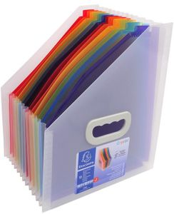 EXACOMPTA Fächer-Stehsammler Crystal 12 Fächer farbig transparent