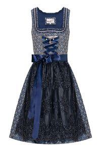 MarJo Mini Dirndl 60cm dunkelblau grau gemustert Fenza 008428 Größe: 42