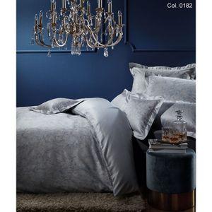 Curt Bauer Mako Brokat Damast Bettwäsche 2 teilig Bettbezug 135 x 200 cm Kopfkissenbezug 80 x 80 cm 9001-0182 Victoria blau