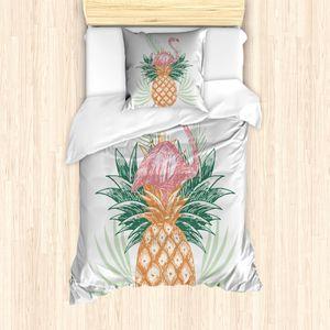 ABAKUHAUS Flamingo Bettbezug Set für Einzelbetten, Ananas Flamingo Leaves, Milbensicher Allergiker geeignet mit Kissenbezug, 135 cm x 200 cm - 80 x 80 cm, Mehrfarbig