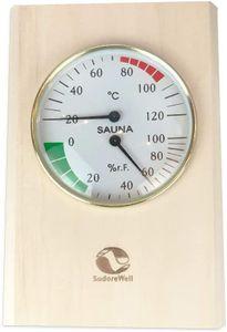 SudoreWell® Sauna Klimamesser rechteckig mit Sauna Thermometer + Sauna Hygrometer 130 x 300 mm