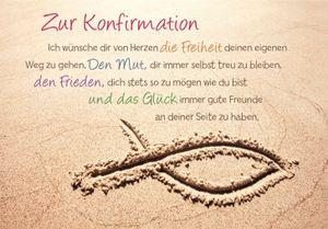 DeCoArt... SET 2 Umschlagkarte Glückwunschkarte Konfirmation Fisch im Sand Strand 11,5 x 16,6 cm