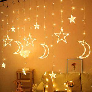 LED Sternenlichterkette 3.5M Leuchtioden Lichtervorhang Sternenvorhang 8 Modi Innen & Außenlichterkette Dekoration für Weihnachten Deko Party Festen, Warmweiß