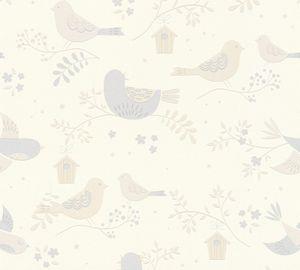 A.S. Création Kinderzimmertapete Boys & Girls Vogeltapete Strukturprofiltapete beige grau weiß 10,05 m x 0,53 m