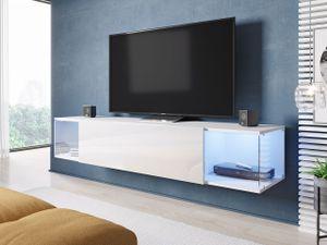 Mirjan24 Hänge TV-Lowboard Vigo Sky, TV-Schrank vom Hersteller, Stilvoll RTV (Weiß / Weiß Hochglanz, ohne Beleuchtung)
