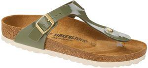 Birkenstock Gizeh Patent Sandalen Birko-Flor Damen khaki Schuhgröße EU 40