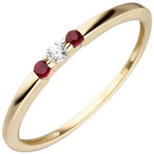 JOBO Damen Ring 52mm schmal 333 Gold Gelbgold 2 Rubine 1 Zirkonia