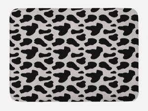 ABAKUHAUS Kuh-Druck Badematte Badvorlage, Kuhfell Schwarz Spots, Plüschiges Badezimmer Nachbildung Matte mit rutschfester Rückseite, 45 cm x 75 cm, Charcoal Grau Weiß