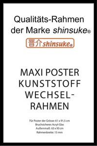 Posterrahmen  Shinsuke Wechselrahmen Maxi-Poster Profil: 15mm Kunststoff 61x91,5cm schwarz 613301