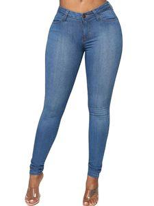 Sexydance Damen Jeggings Jeans Denim Lange Bleistifthose Hohe Taille Skinny Slim Hose,Farbe:Blau,Größe:L