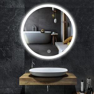 YOLEO Badspiegel mit LED-Beleuchtung in 3 Farben, Runder Wandspiegel 60*60cm, Badzimmer Spiegel mit Touchschalter, Kaltweiß, Nuetral, Warm 6400K