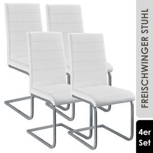 Juskys Freischwinger Stuhl Vegas 4er Set   Kunstleder Bezug + Metall Gestell   120 kg belastbar   weiß   Esszimmerstühle Schwingstühle