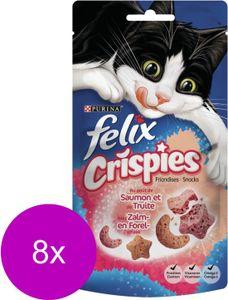 FELIX Crispies Snacks - Lachs / Forelle - Katzensnack - 8 x 45 g