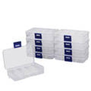 Perlen Aufbewahrungsbox klein mit 8 Fächern (10 Stk) - Schmuck Aufbewahrungsbox Trennwände aus Plastik Transparent - Sortierkasten zur Aufbewahrung von Schmuck, Perlen, Kleinteile, Accessoires