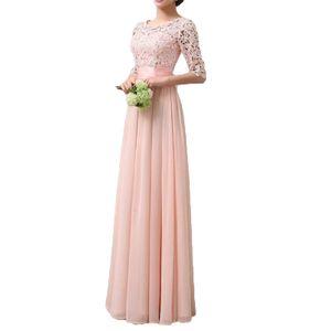 Frauen-Kleid-Spitze-Chiffon- halbe Huelsen-duennes Maxi-Kleid-elegantes Prinzessin-Abend-Partei One-Piece M