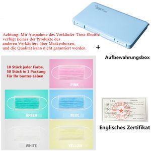 50x Mundschutz Maske 3-lagig Atemschutzmaske Schutzmaske Gesichtsmaske, 10 Rosa,10 Blau,10 Gelb,10 Grün,10 Weiß