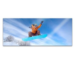 Acrylglasbild 100x40cm Winter Sport Snowboarder Snowboard Schnee Acrylbild Acryl Bild UV Druck Acrylglas Acrylglasbilder 14G761