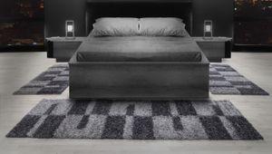 Läuferset Teppich-Set Bettumrandung Shaggy Hochflor Hellgrau Grau Weiss 3er Set, Farbe:Grau, Bettset:2 mal 60x110 + 1 mal 100x200