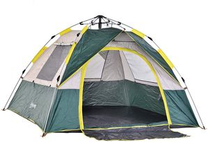 Outsunny Zelt für 3-4 Personen, Campingzelt mit Heringen, Kuppelzelt, Polyester, Grün, 205 x 195 x 135 cm