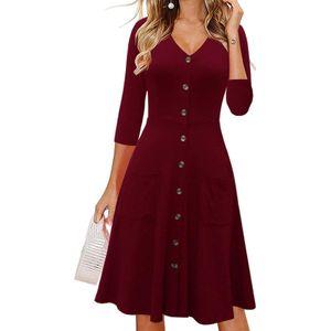 Damenmode Dreiviertel-Ärmel mit langem Rock Taschenkleid Größe:S,Farbe:Kupfer