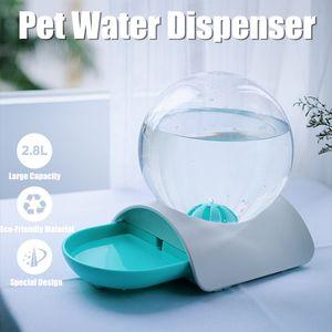 2.8L Haustier Automatischer Wasser Trinkbrunnen Futterspender für Hund Katzen -Green