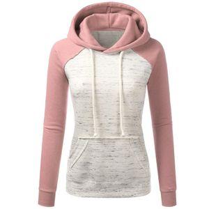 Damen Hooded Casual Hooded Sweatshirt Colorblock Top,Farbe: Pink,Größe:3XL