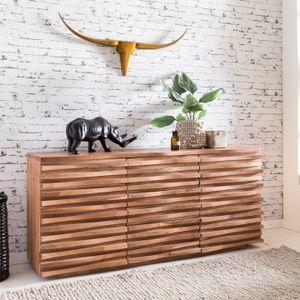 WOHNLING Sideboard KADA 160 x 75 x 43 cm Massiv-Holz Akazie Natur Baumkante Anrichte | Landhaus-Stil Kommode mit Schubladen & Türen | Flur Schrank Standschrank