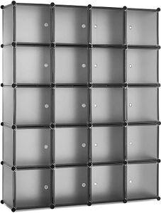 Meerveil Kunststoff Kleiderschrank Garderobenschrank Steckregal DIY Modular Schrank Regalsystem mit 2 Kleiderstange (Halbtransparent Grau, 20-Kubus)