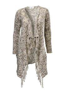 Rick Cardona Damen Designer-Longstrickjacke,beige, Größe:44/46
