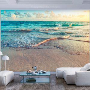 Fototapete selbstklebend Strand Meer 343x256 cm Tapete Wandtapete Wandbilder Klebefolie Dekofolie Tapetenfolie Wand Dekoration Wohnzimmer - Landschaft Natur c-B-0358-a-a