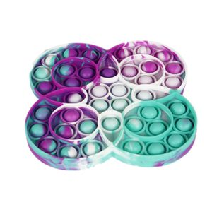 Push Pop It Pop Bubble Spielzeug,Verwendet für Autismus, Stress Abzubauen Braucht zappeln Spielzeug(Vier Ringe/Leuchtfarbe)