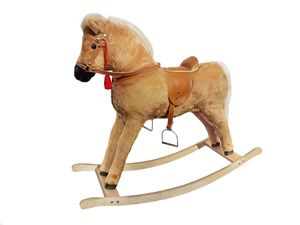 Großes Plüschpferd wie Haflinger Schaukelpferd Holzpferd hellbraun 96-115