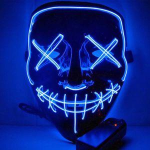 Halloween LED Maske wie aus the Purge mit Beleuchtung - beleuchtete Grusel Vollmaske