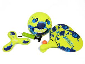Best Sporting Neopren Beach Game Set gelb - blau Fußball Frisbee Tennis