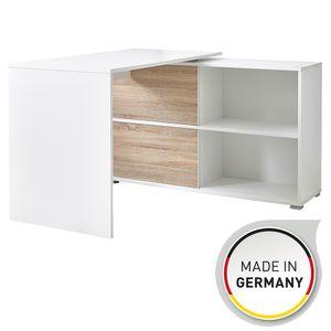 """Germania Schreibtisch """"GW-Slide"""" in Weiß/Sonoma-Eiche-Nachbildung, mit integriertem Sideboard, 120 x 76 x 120 cm (BxHxT), 4036-176"""