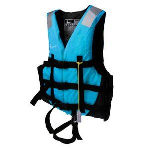 Rettungswesten Schwimmhilfe Erwachsene Mit Pfeife Gürtel für Erwachsene Treiben Angeln Schwimmen Surfen Wassersport Set - L Blau