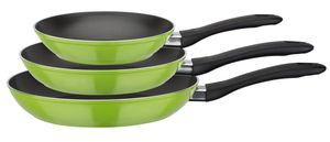 GSW Pfannen-Set Nova 3-tlg. grün, Aluminium, Kunststoff, Bratpfanne ø ca. 20 x H 4,2cm / ø ca. 24 x H 4,4cm / ø ca. 28 x H 4,8cm