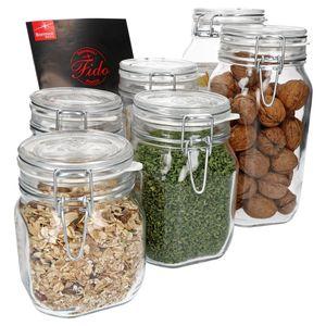 6-tlg. Set Drahtbügelglas Fido 0,75L + 1,0L + 1,5L Einmachglas mit Bügelverschluss Vorratsglas