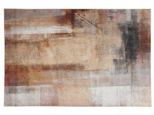 Teppich Beige 140 x 200 cm Kurzflor Abstrakt Rechteckig Modern