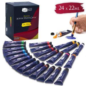 Artina Acrylfarben Set Crylic Künstlerfarben 24x22ml