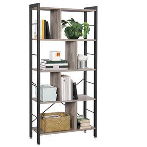 VASAGLE Bücherregale mit 4 Ebenen 154,5 x 74 x 30 cm einfacher Aufbau Metallrahmen im Industrie Design groß stabil greige-schwarz LBC012B02