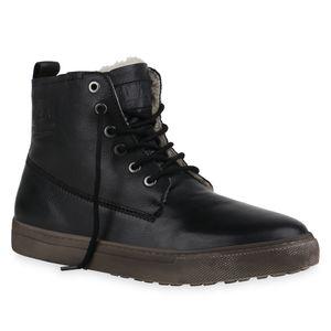 Mytrendshoe Herren Winter Boots Warm Gefütterte Stiefel Schnürer Schuhe 835985, Farbe: Schwarz, Größe: 42