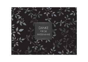 Friendly Fox Danksagungskarten Trauer mit Umschlag - 12 Trauerkarten mit Umschlag - Karten Set schwarz mit dezentem Muster - Danke Karte nach Beerdigung