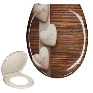 ECD Germany Premium Duroplast Toilettendeckel Easy Fix Clip System auf Knopfdruck abnehmbar - Love Holz Motiv - inkl. Montagematerial - Klodeckel WC Sitz Deckel Toilettensitz Klobrille