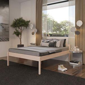 Seniorenbett 160x200 Triin mit Rollrost in Scandi Style aus hartem Birken Massivholz - über 700 kg Hypoallergen - Holzbett 55 cm mit Kopfteil - Stabiles Doppelbett für Senioren Gästebett